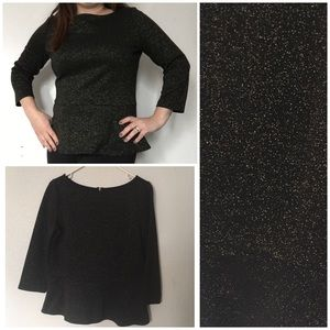 Loft Black and Gold Sparkle Peplum Top Medium